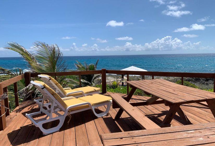 Deck seating with ocean views